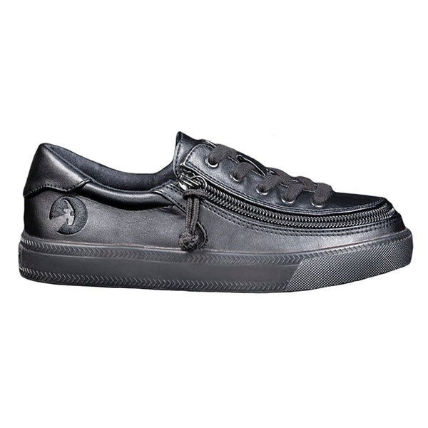 Kid's Black to the Floor Faux Leather BILLY Classic Lace Low, zipper, shoes, velcro, adaptive, accessible, afo, universal, kids, comfortable, BILLY Footwear