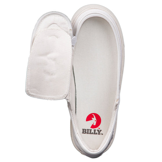 Kid's White Faux Leather BILLY Classic Lace Low, zipper, shoes, velcro, adaptive, accessible, afo, universal, kids, comfortable, BILLY Footwear