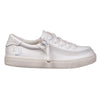 Kid's White Faux Leather BILLY Classic Lace Lows, zipper shoes, like velcro, that are adaptive, accessible, inclusive and use universal design to accommodate an afo. Footwear is medium and wide width, M, D and EEE, are comfortable, and come in toddler, kids, mens, and womens sizing.