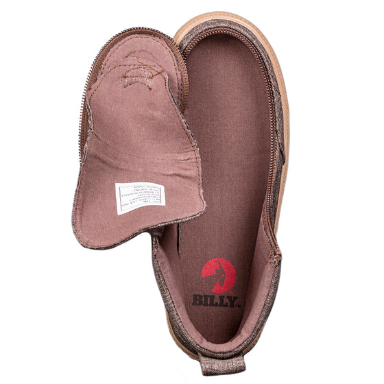 Kid's Brown Jersey BILLY Classic Lace Highs, zipper shoes, like velcro, that are adaptive, accessible, inclusive and use universal design to accommodate an afo. Footwear is medium and wide width, M, D and EEE, are comfortable, and come in toddler, kids, mens, and womens sizing.