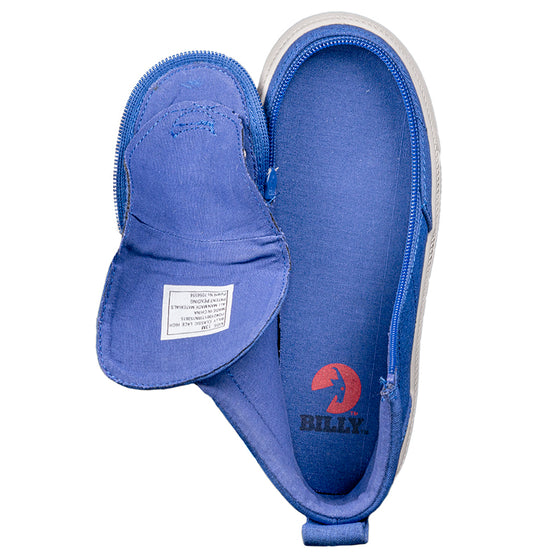 Kid's Blue Jersey BILLY Classic Lace Highs, zipper shoes, like velcro, that are adaptive, accessible, inclusive and use universal design to accommodate an afo. Footwear is medium and wide width, M, D and EEE, are comfortable, and come in toddler, kids, mens, and womens sizing.