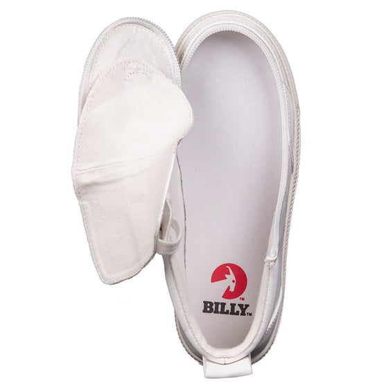 Kid's White Faux Leather BILLY Classic Lace Highs, zipper shoes, like velcro, that are adaptive, accessible, inclusive and use universal design to accommodate an afo. Footwear is medium and wide width, M, D and EEE, are comfortable, and come in toddler, kids, mens, and womens sizing.