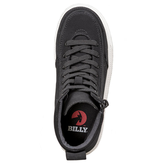 Kid's Black Perf Faux Leather BILLY Classic Lace Highs, zipper shoes, like velcro, that are adaptive, accessible, inclusive and use universal design to accommodate an afo. Footwear is medium and wide width, M, D and EEE, are comfortable, and come in toddler, kids, mens, and womens sizing.