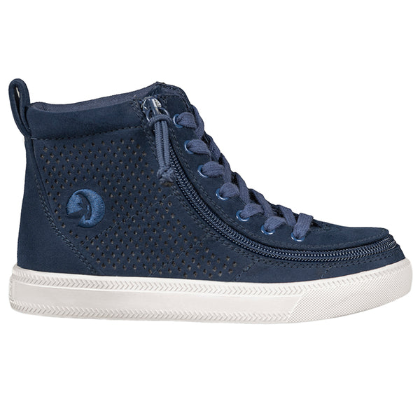 Kid's Navy Perf Faux Leather BILLY Classic Lace High, zipper, shoes, velcro, adaptive, accessible, afo, universal, kids, comfortable, BILLY Footwear