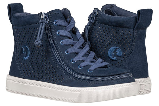 Kid's Navy Perf Faux Leather BILLY Classic Lace Highs, zipper shoes, like velcro, that are adaptive, accessible, inclusive and use universal design to accommodate an afo. Footwear is medium and wide width, M, D and EEE, are comfortable, and come in toddler, kids, mens, and womens sizing.