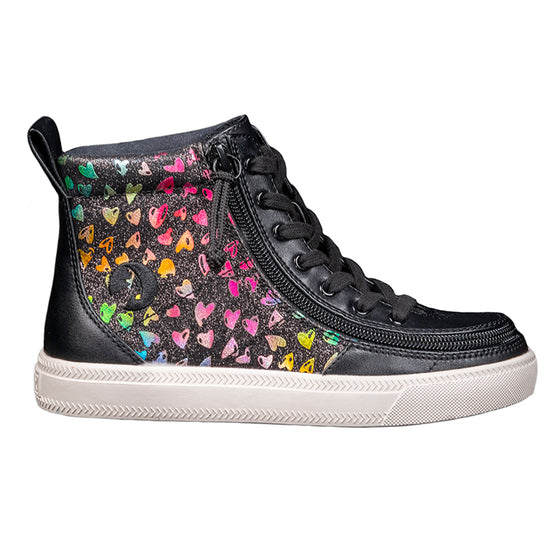 Kid's Black Hearts BILLY Classic Lace Highs, zipper shoes, like velcro, that are adaptive, accessible, inclusive and use universal design to accommodate an afo. Footwear is medium and wide width, M, D and EEE, are comfortable, and come in toddler, kids, mens, and womens sizing.