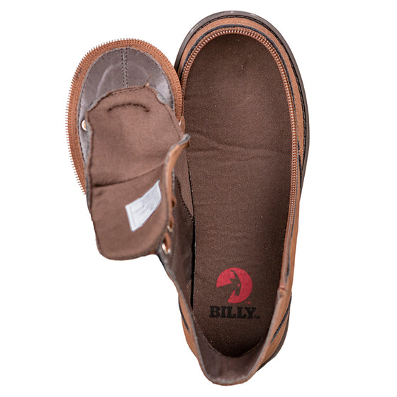 Kid's Brown BILLY Boots, zipper shoes, like velcro, that are adaptive, accessible, inclusive and use universal design to accommodate an afo. Footwear is medium and wide width, M, D and EEE, are comfortable, and come in toddler, kids, mens, and womens sizing.