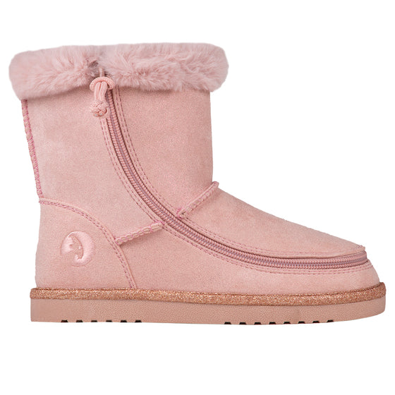 Kid's Blush BILLY Cozy Boots, zipper shoes, like velcro, that are adaptive, accessible, inclusive and use universal design to accommodate an afo. Footwear is medium and wide width, M, D and EEE, are comfortable, and come in toddler, kids, mens, and womens sizing.