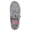 Kid's Heather Grey Star BILLY Classic Lace Lows, zipper shoes, like velcro, that are adaptive, accessible, inclusive and use universal design to accommodate an afo. Footwear is medium and wide width, M, D and EEE, are comfortable, and come in toddler, kids, mens, and womens sizing.
