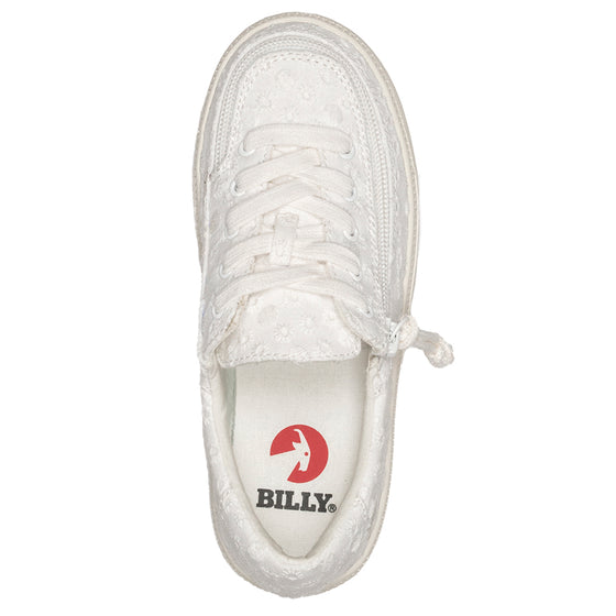 Kid's White Eyelet BILLY Classic Lace Lows, zipper shoes, like velcro, that are adaptive, accessible, inclusive and use universal design to accommodate an afo. Footwear is medium and wide width, M, D and EEE, are comfortable, and come in toddler, kids, mens, and womens sizing.