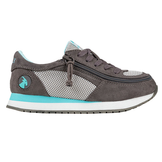 Kid's Grey/Mint BILLY Joggers, zipper shoes, like velcro, that are adaptive, accessible, inclusive and use universal design to accommodate an afo. Footwear is medium and wide width, M, D and EEE, are comfortable, and come in toddler, kids, mens, and womens sizing.