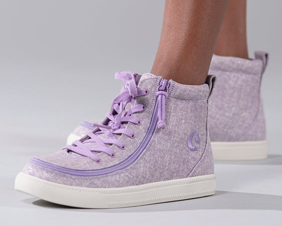 Kid's Lilac BILLY Classic Lace Highs, zipper shoes, like velcro, that are adaptive, accessible, inclusive and use universal design to accommodate an afo. Footwear is medium and wide width, M, D and EEE, are comfortable, and come in toddler, kids, mens, and womens sizing.