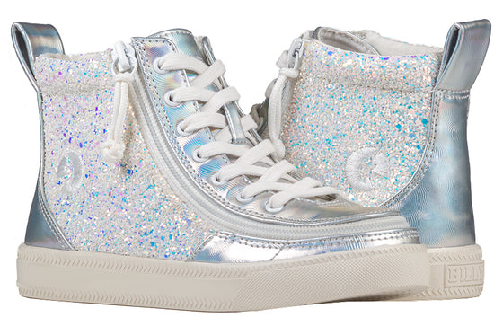 Kid's Unicorn Metallic Glitter BILLY Classic Lace Highs, zipper shoes, like velcro, that are adaptive, accessible, inclusive and use universal design to accommodate an afo. Footwear is medium and wide width, M, D and EEE, are comfortable, and come in toddler, kids, mens, and womens sizing.