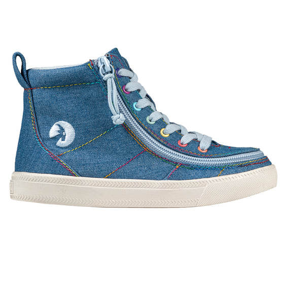 Kid's Denim Rainbow Thread BILLY Classic Lace Highs, zipper shoes, like velcro, that are adaptive, accessible, inclusive and use universal design to accommodate an afo. Footwear is medium and wide width, M, D and EEE, are comfortable, and come in toddler, kids, mens, and womens sizing.