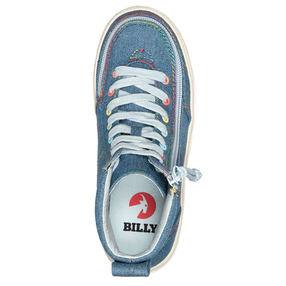 Kid's Denim Rainbow Thread BILLY Classic Lace Highs - BILLY Footwear®