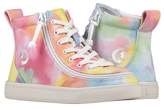 Kid's Sherbet Tie Dye BILLY Classic Lace Highs, zipper shoes, like velcro, that are adaptive, accessible, inclusive and use universal design to accommodate an afo. Footwear is medium and wide width, M, D and EEE, are comfortable, and come in toddler, kids, mens, and womens sizing.