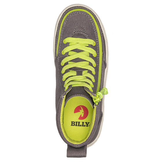 Kid's Charcoal/Acid Green BILLY Classic Lace Highs, zipper shoes, like velcro, that are adaptive, accessible, inclusive and use universal design to accommodate an afo. Footwear is medium and wide width, M, D and EEE, are comfortable, and come in toddler, kids, mens, and womens sizing.