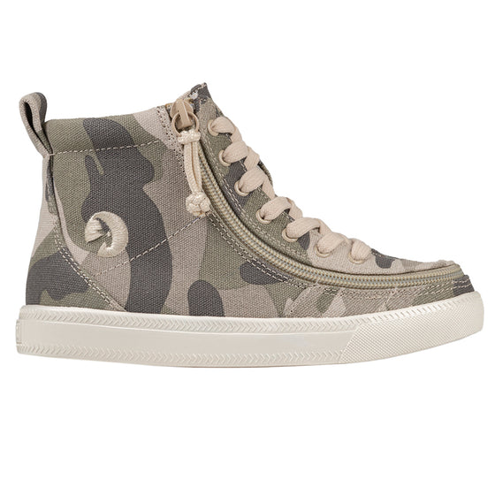 Kid's Natural Camo BILLY Classic Lace Highs, zipper shoes, like velcro, that are adaptive, accessible, inclusive and use universal design to accommodate an afo. Footwear is medium and wide width, M, D and EEE, are comfortable, and come in toddler, kids, mens, and womens sizing.