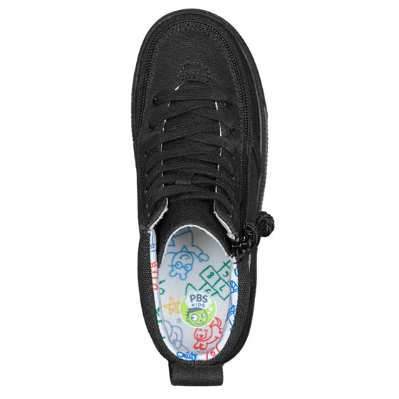 Kid's Black to the Floor Arthur BILLY Classic Lace Highs, zipper shoes, like velcro, that are adaptive, accessible, inclusive and use universal design to accommodate an afo. Footwear is medium and wide width, M, D and EEE, are comfortable, and come in toddler, kids, mens, and womens sizing.