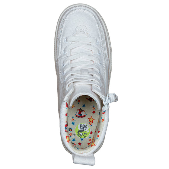 Kid's White Arthur BILLY Classic Lace Highs, zipper shoes, like velcro, that are adaptive, accessible, inclusive and use universal design to accommodate an afo. Footwear is medium and wide width, M, D and EEE, are comfortable, and come in toddler, kids, mens, and womens sizing.
