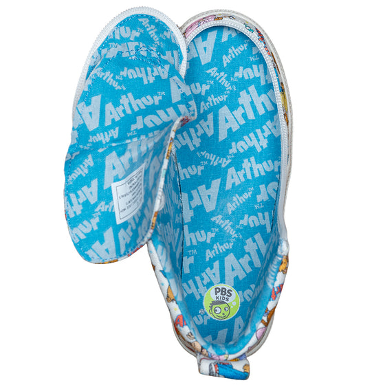 Kid's All Over Print Arthur BILLY Classic Lace Highs, zipper shoes, like velcro, that are adaptive, accessible, inclusive and use universal design to accommodate an afo. Footwear is medium and wide width, M, D and EEE, are comfortable, and come in toddler, kids, mens, and womens sizing.