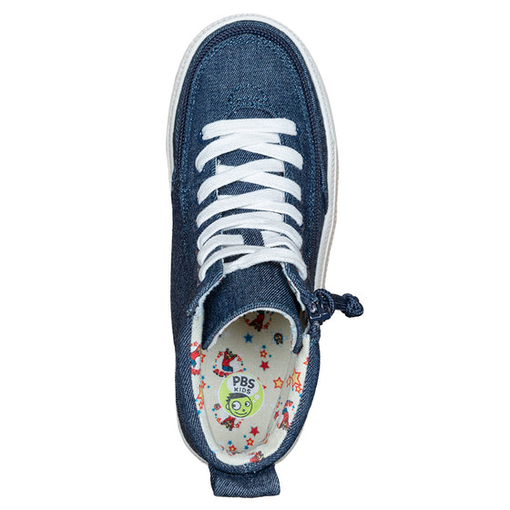 Kid's Blue Denim Arthur BILLY Classic Lace Highs, zipper shoes, like velcro, that are adaptive, accessible, inclusive and use universal design to accommodate an afo. Footwear is medium and wide width, M, D and EEE, are comfortable, and come in toddler, kids, mens, and womens sizing.