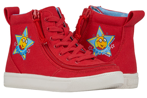 Kid's Red Arthur BILLY Classic Lace Highs, zipper shoes, like velcro, that are adaptive, accessible, inclusive and use universal design to accommodate an afo. Footwear is medium and wide width, M, D and EEE, are comfortable, and come in toddler, kids, mens, and womens sizing.