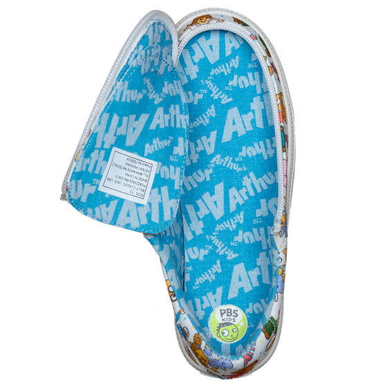 Kid's All Over Print Arthur BILLY Classic Lace Lows, zipper shoes, like velcro, that are adaptive, accessible, inclusive and use universal design to accommodate an afo. Footwear is medium and wide width, M, D and EEE, are comfortable, and come in toddler, kids, mens, and womens sizing.