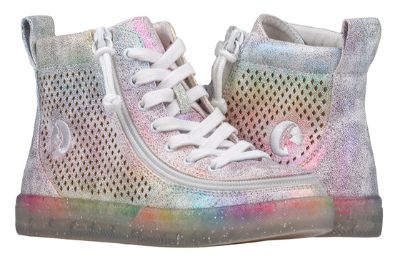 Kid's Rainbow Crackle BILLY Classic Lace Highs, zipper shoes, like velcro, that are adaptive, accessible, inclusive and use universal design to accommodate an afo. Footwear is medium and wide width, M, D and EEE, are comfortable, and come in toddler, kids, mens, and womens sizing.