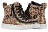 Kid's Leopard Shimmer BILLY Classic Lace Highs, zipper shoes, like velcro, that are adaptive, accessible, inclusive and use universal design to accommodate an afo. Footwear is medium and wide width, M, D and EEE, are comfortable, and come in toddler, kids, mens, and womens sizing.
