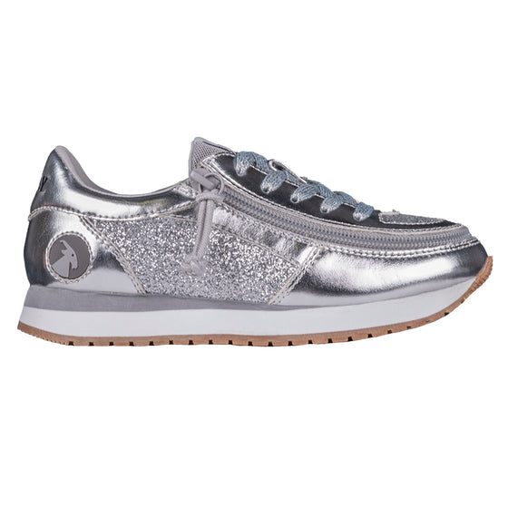 Kid's Silver BILLY Joggers, zipper shoes, like velcro, that are adaptive, accessible, inclusive and use universal design to accommodate an afo. Footwear is medium and wide width, M, D and EEE, are comfortable, and come in toddler, kids, mens, and womens sizing.