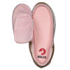 Kid's Rose Gold BILLY Joggers, zipper shoes, like velcro, that are adaptive, accessible, inclusive and use universal design to accommodate an afo. Footwear is medium and wide width, M, D and EEE, are comfortable, and come in toddler, kids, mens, and womens sizing.