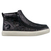 Kid's Black Glitter BILLY Mid Tops, zipper shoes, like velcro, that are adaptive, accessible, inclusive and use universal design to accommodate an afo. Footwear is medium and wide width, M, D and EEE, are comfortable, and come in toddler, kids, mens, and womens sizing.