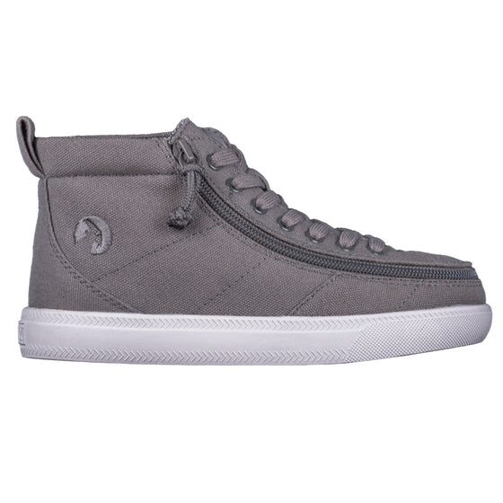 Kid's Dark Grey BILLY Classic WDR High Tops, zipper shoes, like velcro, that are adaptive, accessible, inclusive and use universal design to accommodate an afo. Footwear is medium and wide width, M, D and EEE, are comfortable, and come in toddler, kids, mens, and womens sizing.