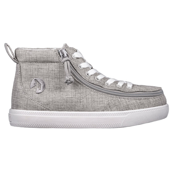 Kid's Grey Jersey BILLY Classic WDR High Tops, zipper shoes, like velcro, that are adaptive, accessible, inclusive and use universal design to accommodate an afo. Footwear is medium and wide width, M, D and EEE, are comfortable, and come in toddler, kids, mens, and womens sizing.