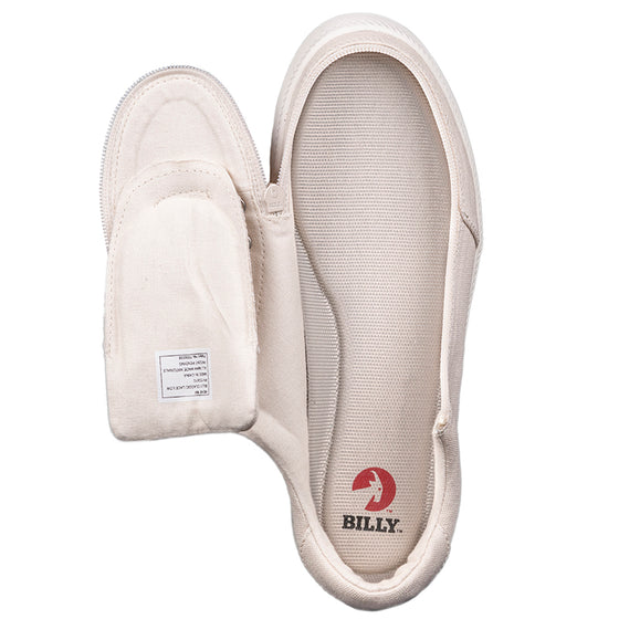 Men's Natural BILLY Classic Lace Lows, zipper shoes, like velcro, that are adaptive, accessible, inclusive and use universal design to accommodate an afo. Footwear is medium and wide width, M, D and EEE, are comfortable, and come in toddler, kids, mens, and womens sizing.