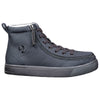 Men's Black to the Floor BILLY Classic Lace Highs, zipper shoes, like velcro, that are adaptive, accessible, inclusive and use universal design to accommodate an afo. Footwear is medium and wide width, M, D and EEE, are comfortable, and come in toddler, kids, mens, and womens sizing.