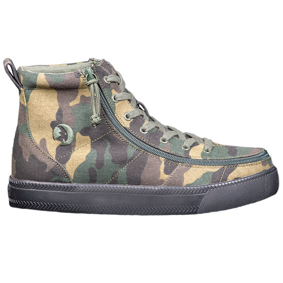 Men's Green Camo BILLY Classic Lace Highs, zipper shoes, like velcro, that are adaptive, accessible, inclusive and use universal design to accommodate an afo. Footwear is medium and wide width, M, D and EEE, are comfortable, and come in toddler, kids, mens, and womens sizing.