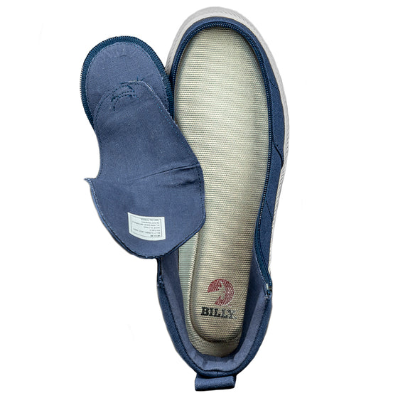 Men's Navy BILLY Classic Lace Highs, zipper shoes, like velcro, that are adaptive, accessible, inclusive and use universal design to accommodate an afo. Footwear is medium and wide width, M, D and EEE, are comfortable, and come in toddler, kids, mens, and womens sizing.