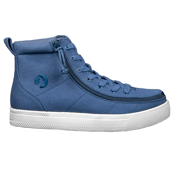 Men's Navy BILLY Classic Lace High, zipper, shoes, velcro, adaptive, accessible, afo, universal, kids, comfortable, BILLY Footwear