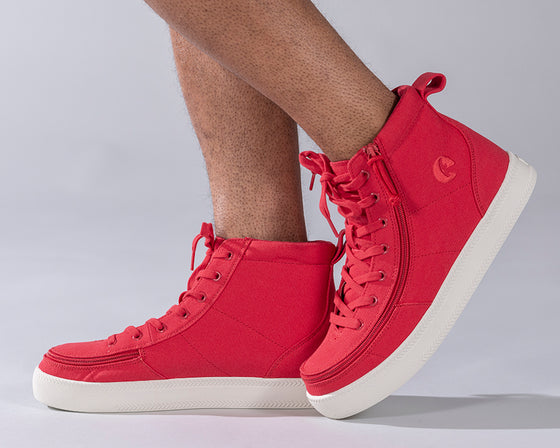 Men's Red BILLY Classic Lace Highs, zipper shoes, like velcro, that are adaptive, accessible, inclusive and use universal design to accommodate an afo. Footwear is medium and wide width, M, D and EEE, are comfortable, and come in toddler, kids, mens, and womens sizing.