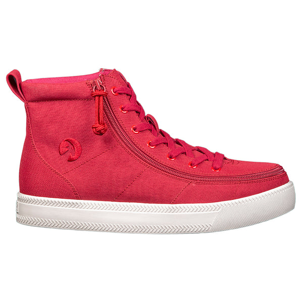 Men's Red BILLY Classic Lace High, zipper, shoes, velcro, adaptive, accessible, afo, universal, kids, comfortable, BILLY Footwear