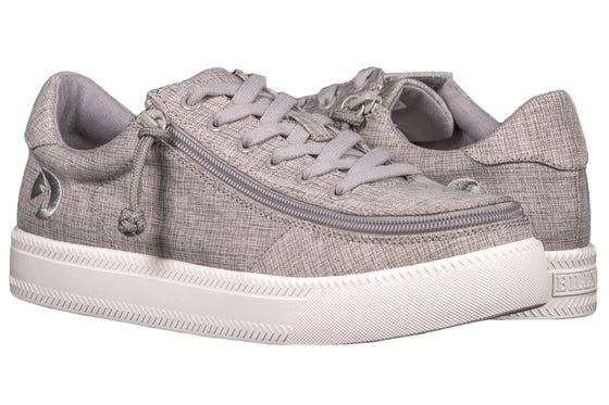 Men's Grey Jersey BILLY Classic Lace Lows, zipper shoes, like velcro, that are adaptive, accessible, inclusive and use universal design to accommodate an afo. Footwear is medium and wide width, M, D and EEE, are comfortable, and come in toddler, kids, mens, and womens sizing.