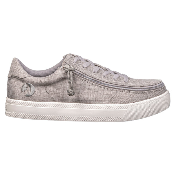 Men's Grey Jersey BILLY Classic Lace Low, zipper, shoes, velcro, adaptive, accessible, afo, universal, kids, comfortable, BILLY Footwear