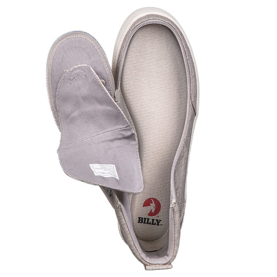 Men's Grey Jersey BILLY Classic Lace Highs, zipper shoes, like velcro, that are adaptive, accessible, inclusive and use universal design to accommodate an afo. Footwear is medium and wide width, M, D and EEE, are comfortable, and come in toddler, kids, mens, and womens sizing.