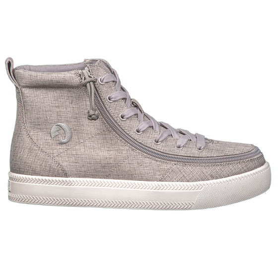 Men's Grey Jersey BILLY Classic Lace Highs, zipper, shoes, velcro, adaptive, accessible, afo, universal, kids, comfortable, BILLY Footwear