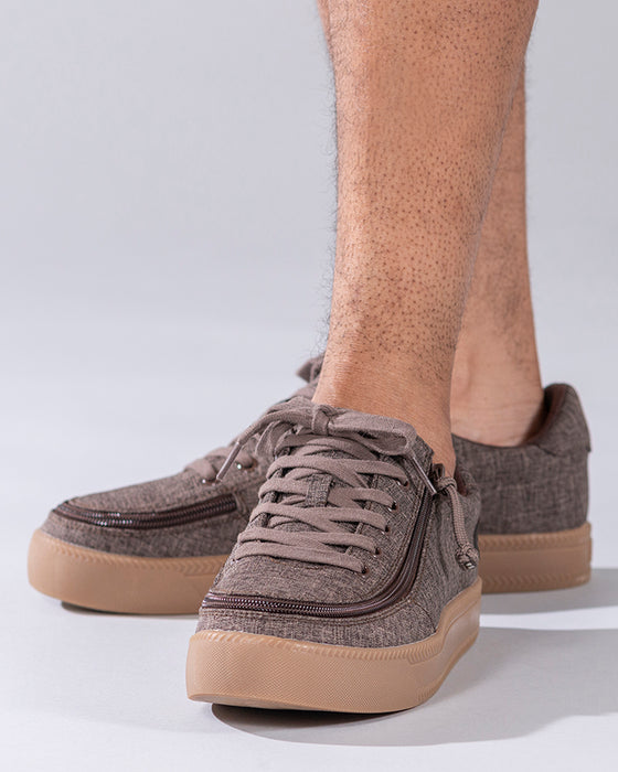 Men's Brown Jersey BILLY Classic Lace Lows, zipper shoes, like velcro, that are adaptive, accessible, inclusive and use universal design to accommodate an afo. Footwear is medium and wide width, M, D and EEE, are comfortable, and come in toddler, kids, mens, and womens sizing.