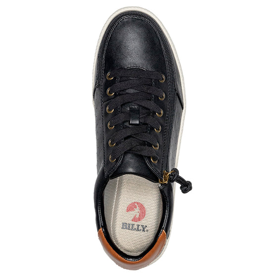 Men's Black BILLY Low Sneakers, zipper shoes, like velcro, that are adaptive, accessible, inclusive and use universal design to accommodate an afo. Footwear is medium and wide width, M, D and EEE, are comfortable, and come in toddler, kids, mens, and womens sizing.