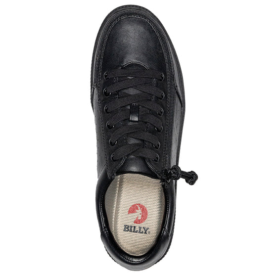 Men's Black to the Floor BILLY Low Sneakers, zipper shoes, like velcro, that are adaptive, accessible, inclusive and use universal design to accommodate an afo. Footwear is medium and wide width, M, D and EEE, are comfortable, and come in toddler, kids, mens, and womens sizing.