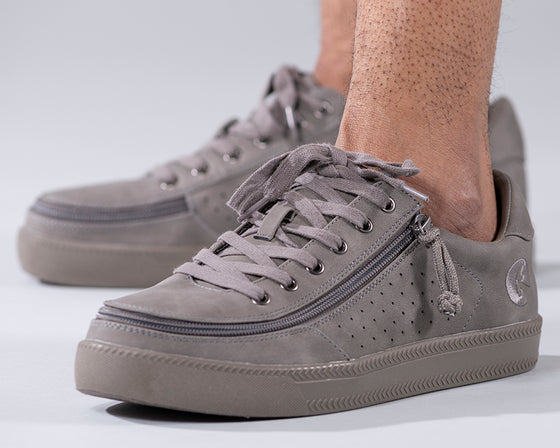 Men's Charcoal to the Floor BILLY Low Sneakers, zipper shoes, like velcro, that are adaptive, accessible, inclusive and use universal design to accommodate an afo. Footwear is medium and wide width, M, D and EEE, are comfortable, and come in toddler, kids, mens, and womens sizing.